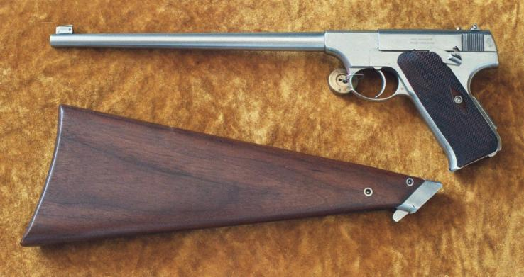 Experimental Colt Woodsman with 10 inch barrel and Detachable Shoulder Stock
